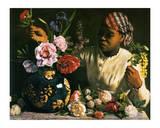 La Negresse aux Pivoines, 1870 Lámina por Frederic Bazille