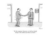 """In this company, Simmons, we hold our hands steady in the middle and shak…"" - New Yorker Cartoon Premium Giclee Print by Zachary Kanin"