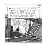 "A dog looks out of a car window.  Title: ""He'd barked and barked as she ma… - New Yorker Cartoon Premium Giclee Print by Harry Bliss"