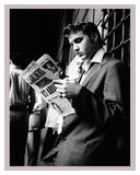 Elvis Presley Reading the Paper in London, 1958 Poster