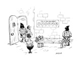 A man enters a Medieval torture chamber to see a smiley-face chart that as… - New Yorker Cartoon Premium Giclee Print by David Sipress