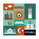 Symbols of Istanbul. Vector Print by  Ladoga