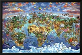 Maria Rabinky World Wonders map Prints by Maria Rabinky