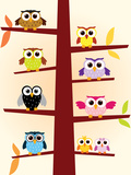 Owls Colors Reproduction giclée Premium par  danielfela
