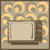 Vintage Television Illustration with Retro Wallpaper Premium Giclee Print by  anasztazia