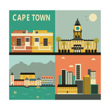 Cape Town City. Vector Plakat af Ladoga