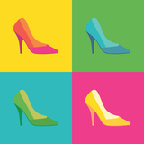 Pop Art High Heel Women Shoes - Illustration. Posters by  i3alda