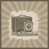 Vintage Camera Illustration on Sunburst Background Prints by  anasztazia