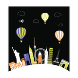 Hot Air Balloons over the World. Vector Print by  Ladoga