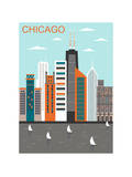 Stylized Chicago City. Vector Poster von  Ladoga
