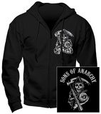 Hoodie: Sons Of Anarchy - Samcro (Front/Back) Huvtröja med dragkedja