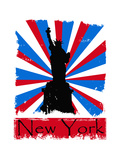 Grunge New York Illustration on Sunburst Background Art by  anasztazia