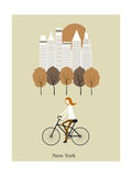 Girl on a Bicykle. Vector Posters by  Ladoga