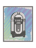Vintage Style Jukebox in Grunge Frame Prints by  anasztazia