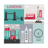 Symbols of London.Vector Print by  Ladoga