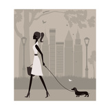 Woman Walking with a Dog. Vector Láminas por  Ladoga