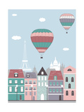 Hot Air Balloons over the Paris. Prints by  Ladoga