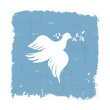 Peace Dove Wallpaper in Grunge Frame Premium Giclee Print by  anasztazia