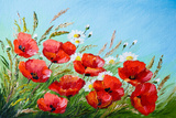 Oil Painting - Poppies in the Field Prints by  max5799