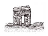 Hand Draw Paris De Arc Triomphe Posters by  jim80
