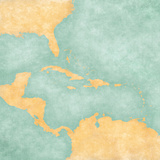 Map of Caribbean - Blank Map (Vintage Series) Poster by  Tindo