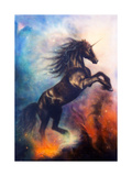 Painting of a Black Unicorn Dancing in Space Art by  jozefklopacka