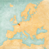 Map of Europe - Belgium (Vintage Series) Prints by  Tindo