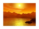 Sunset on a Sea. 3D Scene Posters by  elen_studio
