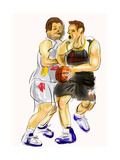 Hand Draw Basketball Player Poster by  jim80