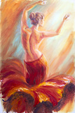 Beautiful Dancing Woman in Red. Oil Painting. Prints by  Valenty