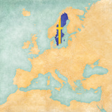 Map of Europe - Sweden (Vintage Series) Plakat af Tindo