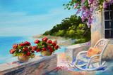 Oil Painting - Balcony near the Sea Prints by  max5799