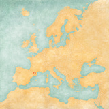 Map of Europe - Andorra (Vintage Series) Art by  Tindo