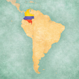 Map of South America - Colombia (Vintage Series) Print by  Tindo