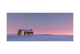 Winter Snow Landscape at Sunset with Solitude Cabin. Poster by  ysbrandcosijn