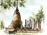 Thailand Ancient Temple Water Color Painting Poster by  glowonconcept