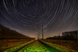 Night Rails -Green Way with Motion Stars, Stratrails Skyes Photographic Print by  Q-lieb-in
