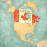 Map of North America - Canada (Vintage Series) Posters by  Tindo