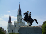General Andrew Jackson Statue in Front of St Louis Cathedral Photographic Print by Karen Struthers