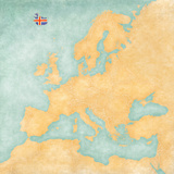 Map of Europe - Iceland (Vintage Series) Art by  Tindo