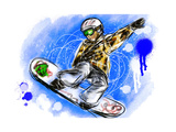 Hand Draw Snowboarding Print by  jim80