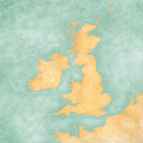 Map of British Isles - Blank Map (Vintage Series) Prints by  Tindo