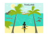 Woman on the Swing on the Thailand Beach Posters by  Ladoga