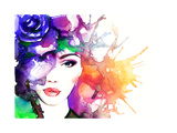 Woman Portrait .Abstract Watercolor .Fashion Background Posters by Anna Ismagilova