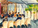 Watercolor Paris Street Coffee Bar Plakater af  jim80