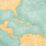 Map of Caribbean - Puerto Rico (Vintage Series) Prints by  Tindo