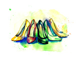 Background with Shoes Prints by Anna Ismagilova