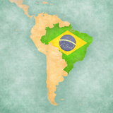 Map of South America - Brazil (Vintage Series) Prints by  Tindo