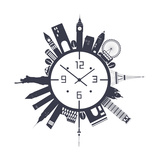 Travel Clock in Black and White Poster by  Ladoga