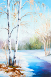 Oil Painting Winter Landscape, Frozen River in the Forest, Color Posters by  max5799
